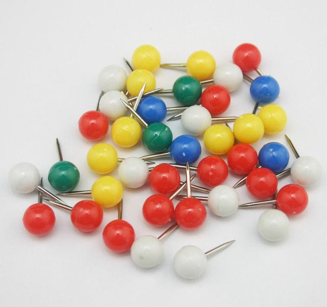 500 pcs lot colorful officemate push pins plastic top round head