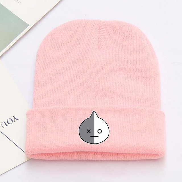 KMW61 OHCOMICS Kpop Bangtan Garçons BTS BT21 Mignon Cap Coton Chapeau Rose D'hiver Accessoire Chaude Bannie Collection Cadeau