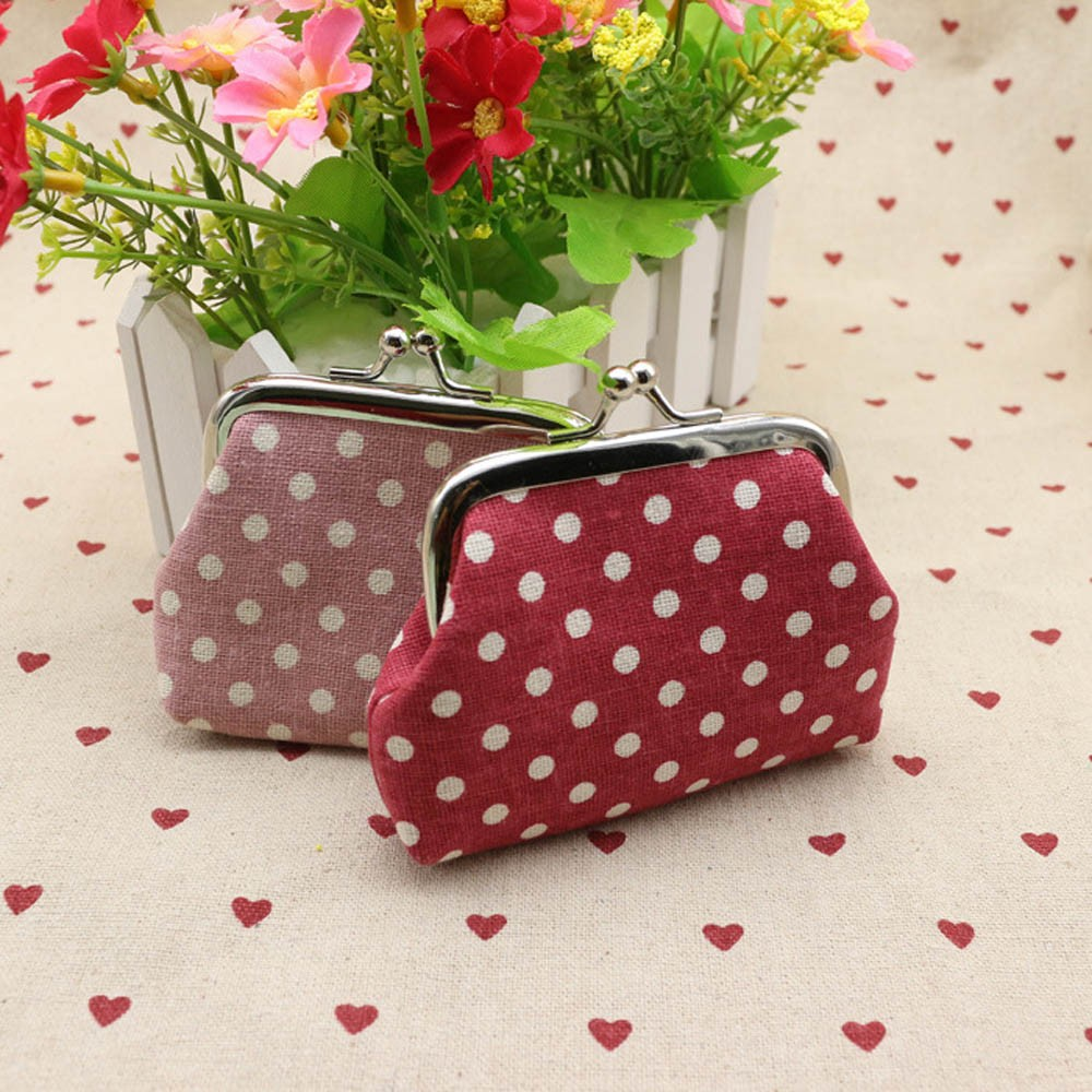 Mini Coin Purse Wallet Clutch Handbag Bag Womens Dot Pattern Small Wallet Money Pouch Card Holder Gift Girls