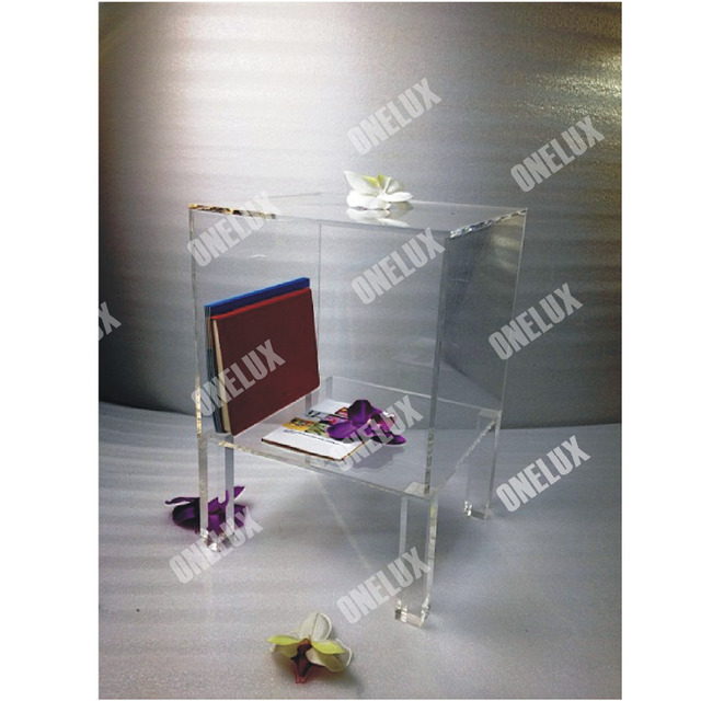 ONE LUX High Transparency Acrylic Lucite Nightstand,Plexiglass Bedside Tables,Perspex Bedroom Cabinets Square Legs