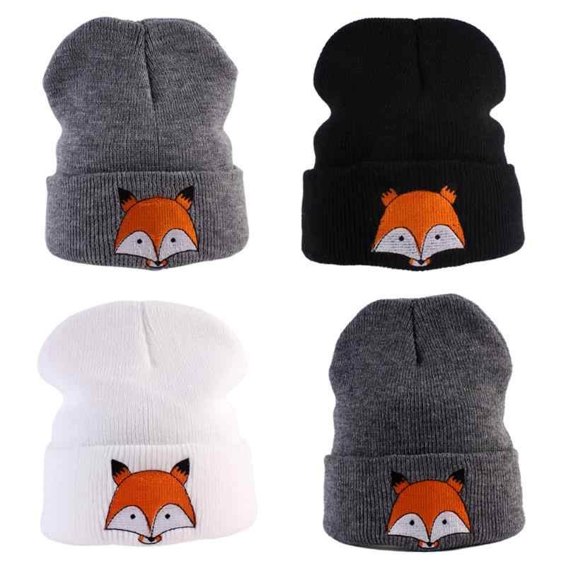 Automne hiver bébé enfants chapeau tricoté chaud hiver chapeaux pour garçons filles dessin animé renard modèle chaud casquette pour enfants 8Y
