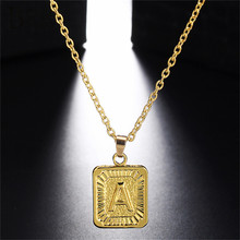 BOAKO A-Z Rectangle Letters Necklace Charm Luster Gold Medal Capital Pendant for Women Men Jewelry Gift Intial