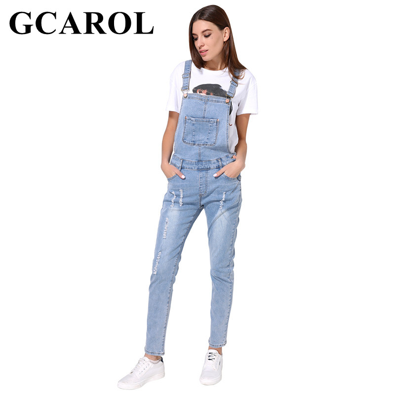 GCAROL 2018 New Arrival Women Ripped Denim Jumpsuits High Quality Braces cowboy Light Blue Basic Overall For 4 Season