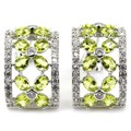 Fashion Jewelry Green Peridot, White CZ SheCrown Woman's Wedding Created  Silver Stud Earrings 22x14mm