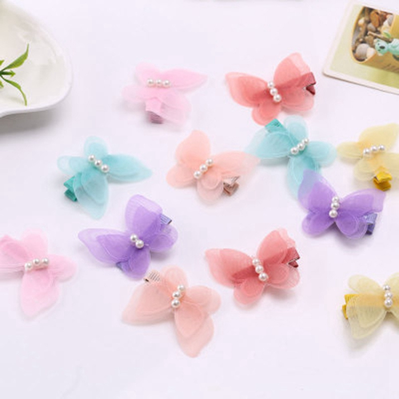 Girls Candy Color Chiffon Plastic Bow Pearl Hairpins Butterfly Hair Clips Fabric Side Hair Grips Cute Hair Barrettes Headwear