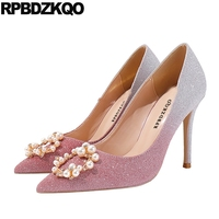 pumps party glitter diamond ladies pointed toe crystal sparkling pink scarpin gold wedding shoes high heels pearl rhinestone