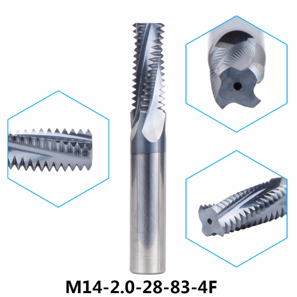 Tungsten Carbide thread end mill 1pc M14-2.0-28-83-4F thread milling cutters  M14*2.0 withTIALN coating Metric 2.0mm Pitch 1pc m5 0 8 10 57 4f tungsten carbide thread end mill m5 0 8 thread milling cutters with tialn coating metric 0 8mm pitch