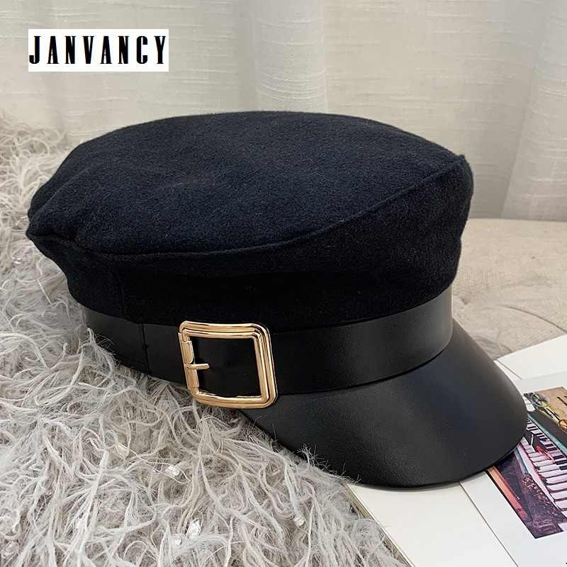 d9ca417c0b6 Vintage Navy Cap for Women Baker boy Flat top Hat Newsboy Metal buckle  Black Faux leather