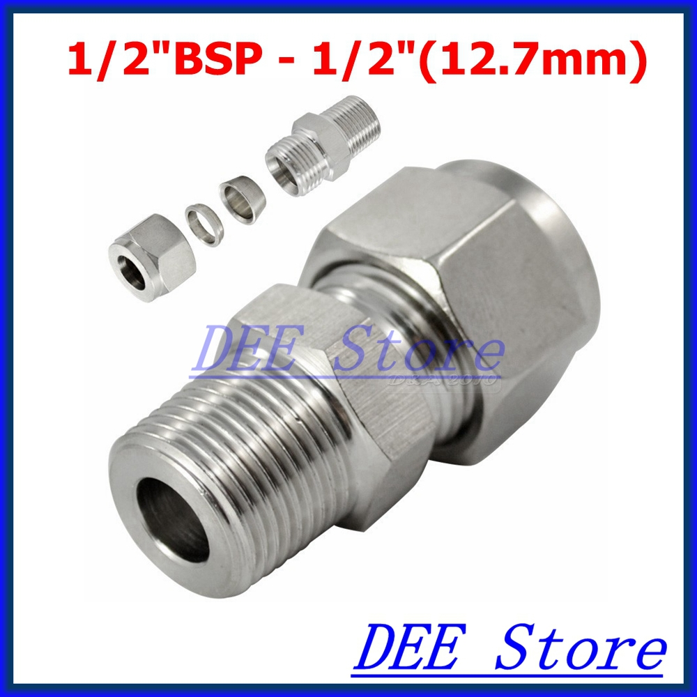 2PCS 1/2BSP x 1/2(12.7mm ID) Double Ferrule Tube Pipe Fittings Threaded Male Connector Stainless Steel SS 304 high quality2x1x2 female tee threaded reducer pipe fittings f f f stainless steel ss304 new