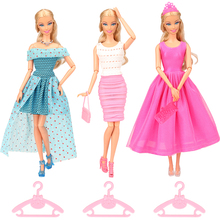13 Items/lot Doll Accessories=3 Dresses +3 Pairs Shoes Hangers +1 Necklace + 1 Crown 2 Bags Dressing For Barbie Toy