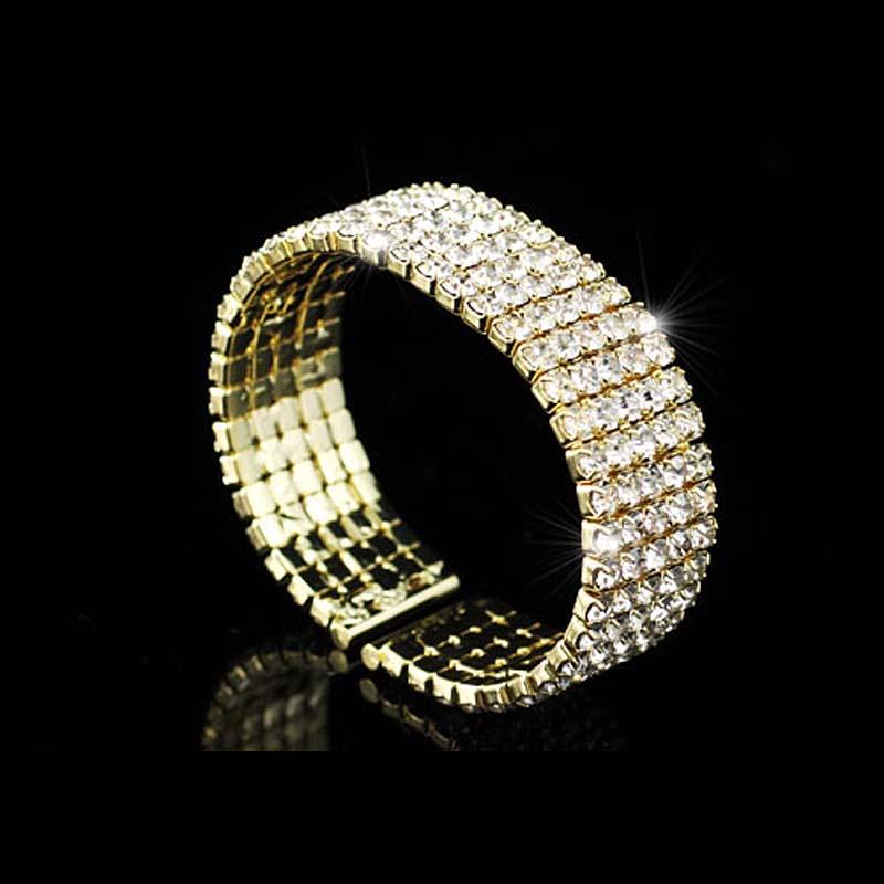 Wholesale 5 Row Crystal Rhinestone Bridal Wedding Party Gold Color Metal Cuff Bangle Bracelet CB041