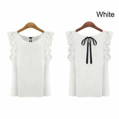 Faroonee Folha de Lótus Pullover Chiffon Camisa Nova Moda das Mulheres Blusa Feminina Plus Size Casual Verão Camisa Solta