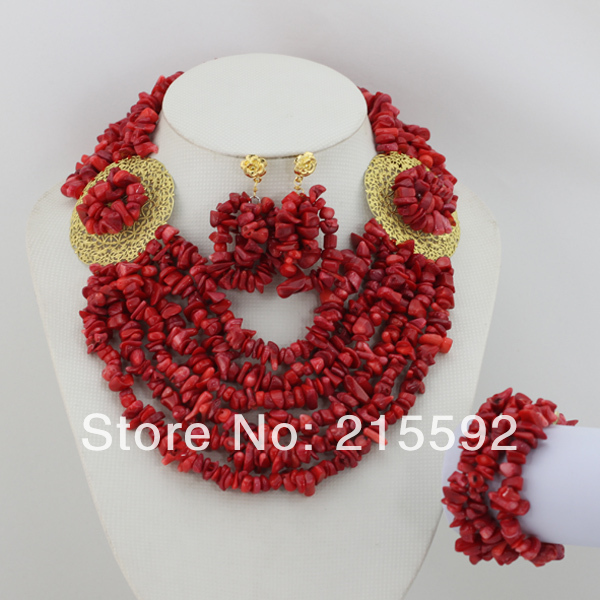 2014 New Fashion Red African Coral Beads Jewelry Set Handmade African Beads Costume Jewelry Set Free Shipping CJ085 free shipping 2017 fashion red coral beads jewelry set charms red twisted strands african jewelry set high quality cnr132