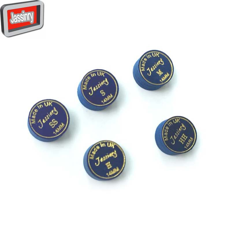 free shipping 10pcs lot 14mm Blue Jassinry Billiards cue tips 8layers pigskin Pool tips SS S