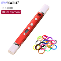 Newest 3D Pen MYRIWELL RP 100C Third generation USB Plug 5V 2A Creative Caneta Pen 3D graffiti pen Digital 4 speed regulation
