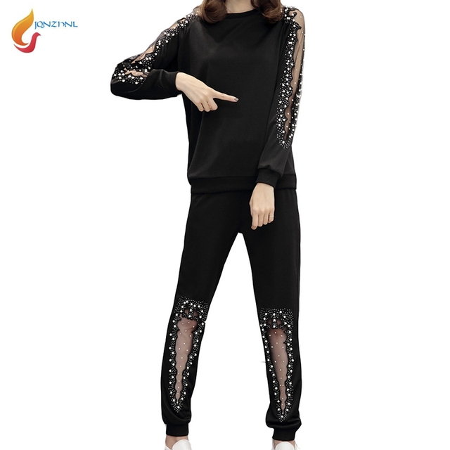 85fb267ff37e JQNZHNL Large Size 4XL Women Sportswear 2018 New Ladies Sporting Suit Sexy  Sweatshirts+Long Pants Loose Casual Tracksuits L314-in Women s Sets from  Women s ...