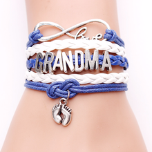 Infinity Mom Bracelets Fashion Grandma Charm Love Mama Bangle Blue Wax White Leather Customise