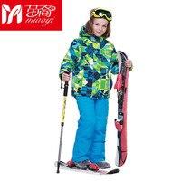 Высокое качество спортивный стиль Куртки катания на лыжах и Брюки для девочек сноуборд устанавливает толстые теплые Водонепроницаемый вет