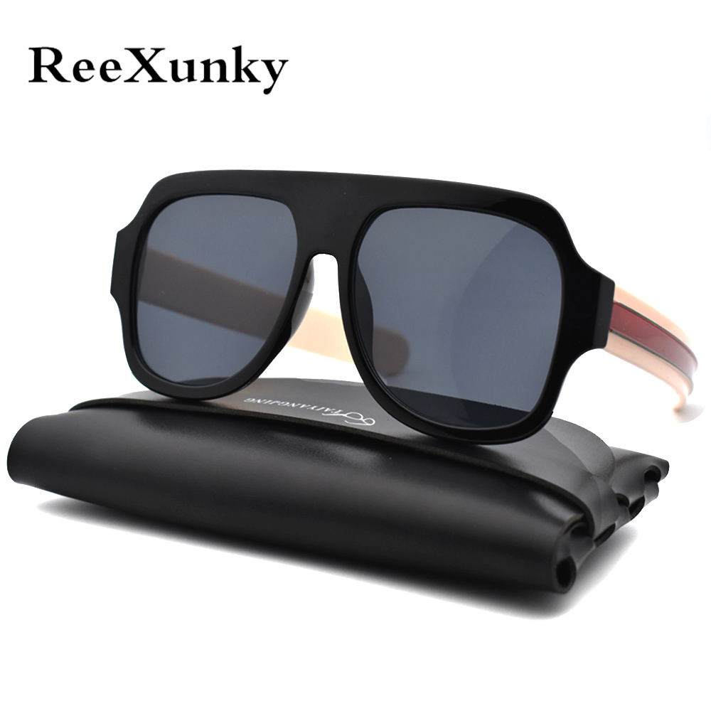 Fashion Unisex Retro Oversized Sunglasses Women 2019 With Luxury Bag Square Vintage Sun Glasses Men Shades Visor Oculos Top in Women 39 s Sunglasses from Apparel Accessories