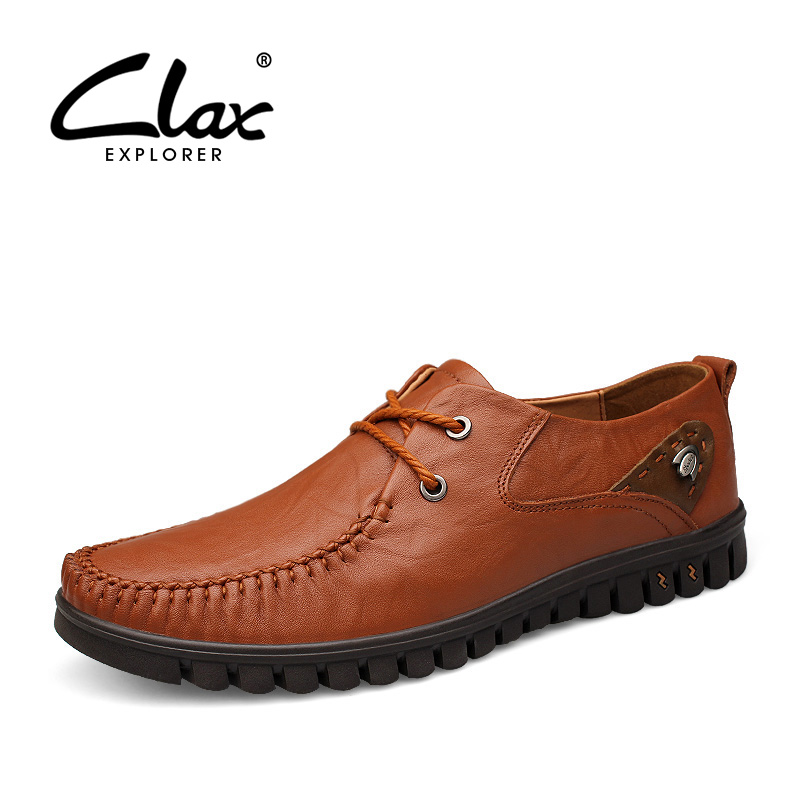 CLAX Men's Shoes Genuine Leather 2018 Spring Autumn Casual Shoe Male Leisure Footwear Fashion Soft British Large Size 2017 men genuine leather boat shoes male british style retro flat shoe fashion leisure handmade sapato masculino d30