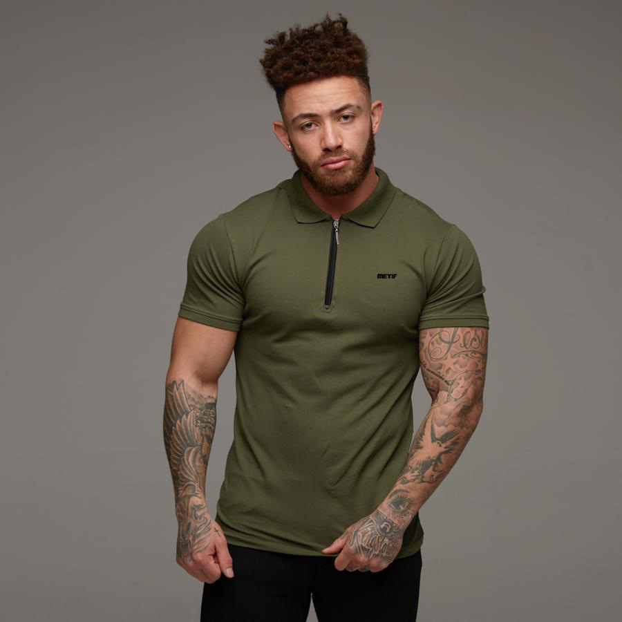 2019 High Quality Quick Dry   Polo   Shirts Zipper Collar Men Short Sleeve Brand Masculina   Polos   Shirt for Men Pure Color Tops S-2XL
