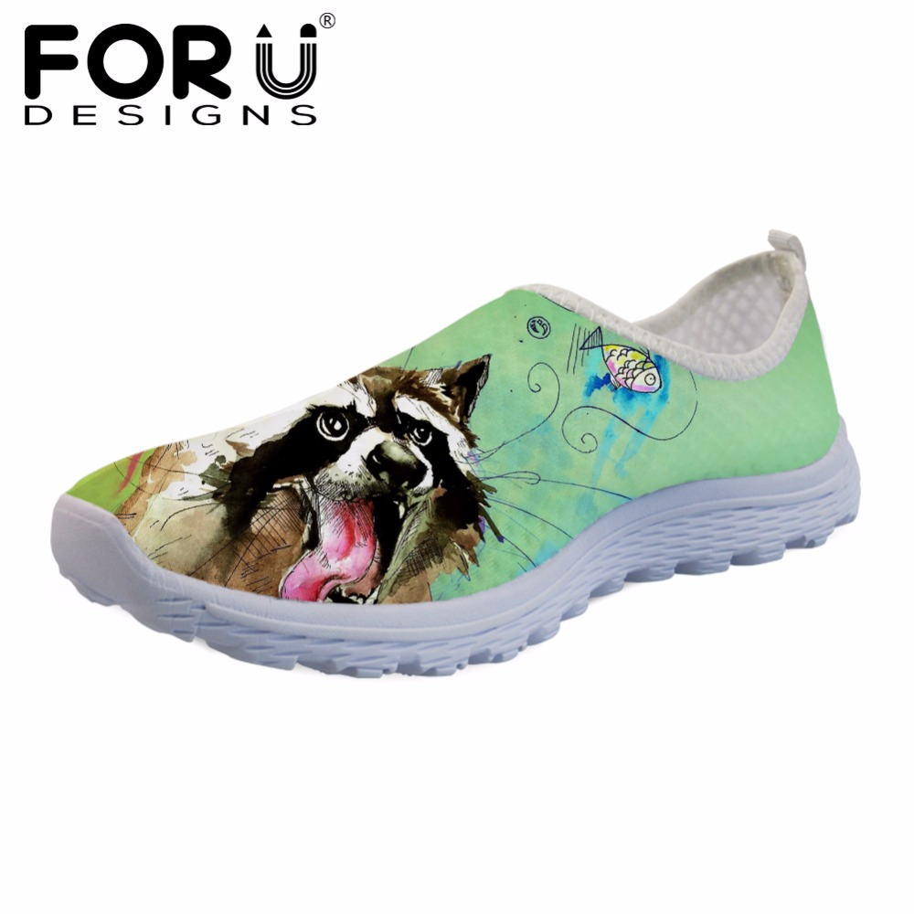 FORUDESIGNS Cute Cartoon Cat Pattern Women Casual Flats Shoes Sneakers Woman Beach Summer Loafers Mesh Breathable Female Zapatos free shipping candy color women garden shoes breathable women beach shoes hsa21