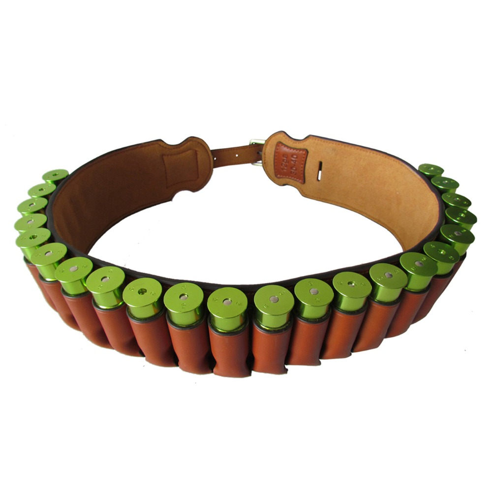 Tourbon Tactical Hunting Gun Accessories Brown Real Leather Bandolier Shotgun Shell Holder Cartridge Ammo Belt 89 106CM