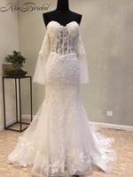 חתונה אופנתית 2018 Vintage תחרת שרוול ארוך שמלה בסגנון בת ים כלה שמלה סקסית Off-the-כתף vestidos דה noiva