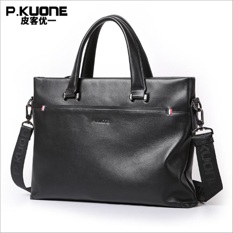 P.KUONE Genuine Leather Laptop Bag Men's Shoulder Bag 2017 Business Briefcase New Fashion Handbag Travel Messenger Bag For Men