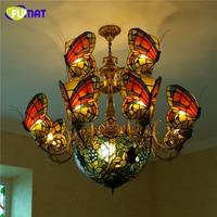 Фумат бабочка люстра с виноградной тени огни витражи Тиффани лампа на заказ стекло светодио дный художественная светодиодная люстра для до