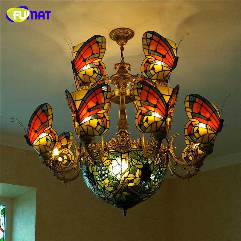 FUMAT Butterfly Chandelier With grape shade Lights Stained glass Tiffany lamp Custom-made Glass Artistic LED Chandelier For Home