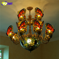 FUMAT Butterfly Chandelier With grape shade Lights Stained glass Tiffany lamp Custom made Glass Artistic LED Chandelier For Home