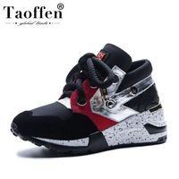 Taoffen Simple Real Leather 2019 Spring Young Vulcanized Shoes Women Thick Bottom Fitness Walk Shoes Women Sneakers Size 35 42