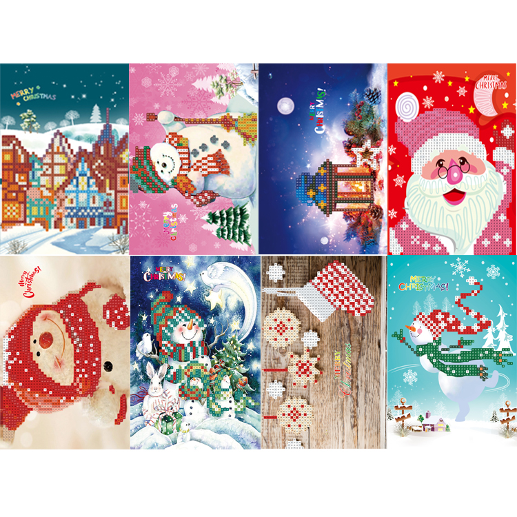 8pcs 5D DIY Special-shape Diamond Painting Xmas Tree Santa Claus Christmas Greeting Cards Gift Cross Stitch Embroidery Kit