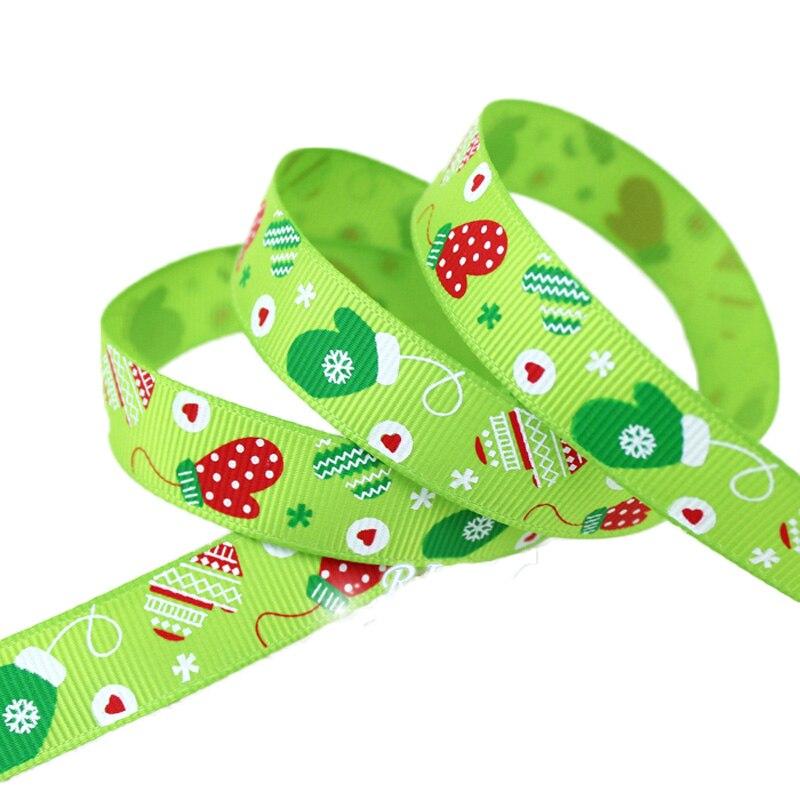 "(5 yards/lot) 5/8""(15mm) Top Quality printed grosgrain ribbon satin ribbon Green christmas gloves gift ribbons"