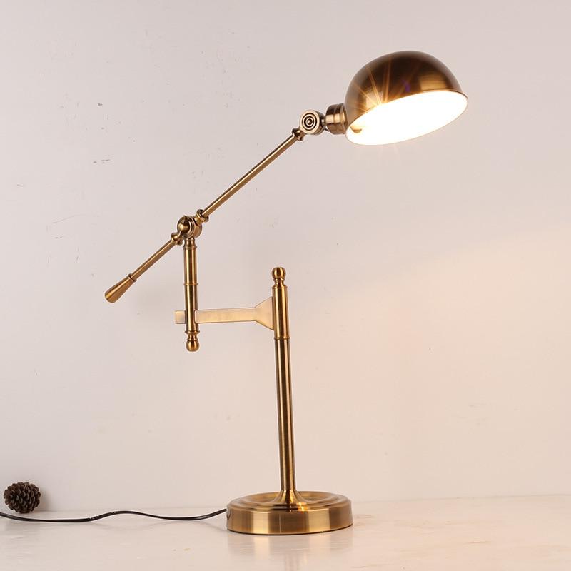 Винтаж Новинка покрытием складной настольная лампа ретро Лофт светодиодный свет стол Lamparas де читальный зал чугуна освещение Abajur Luminaria E27