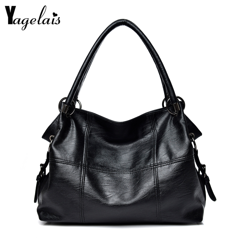2018 New Casual Women PU Leather Bags Zipper Hasp Single Shoulder Crossbody Bags Soft Fashion Black Womens Handbags Big Totes spring new elegant leather women handbag smooth skin lady shoulder bags female small casual totes cover zipper crossbody packs