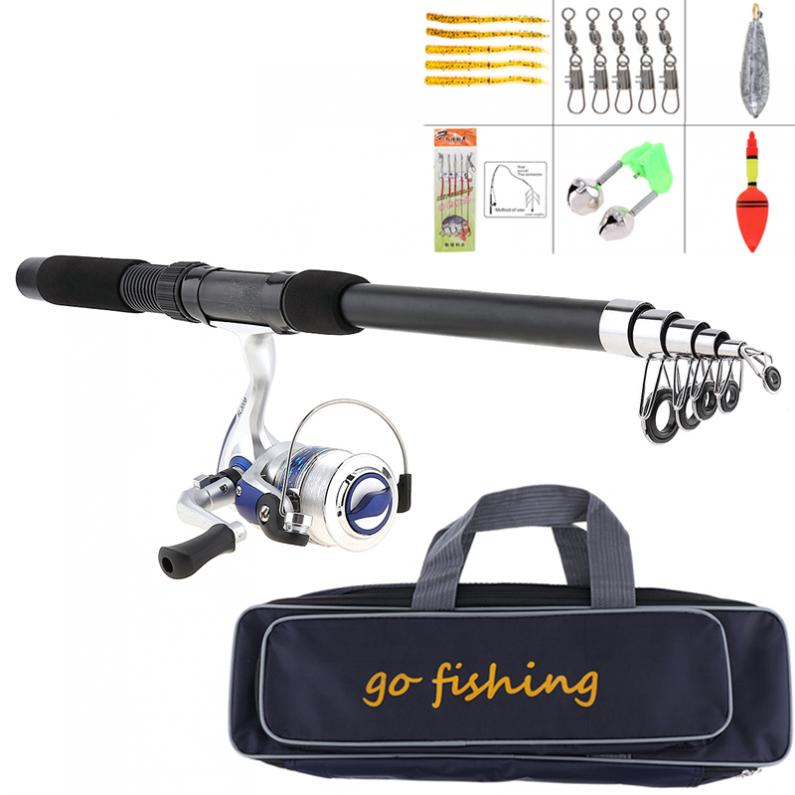 Reel-Line Combo Spinning-Reel-Pole-Set Fishing-Bag Swivel Full-Kits with Soft Lures Float-Hook