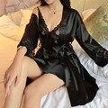 Nuevas Mujeres Atractivas del Cordón Camisón de Satén De Seda + Albornoz Pijamas de Manga Larga ropa de Dormir Conjunto de salón femenino Camisón Homewear