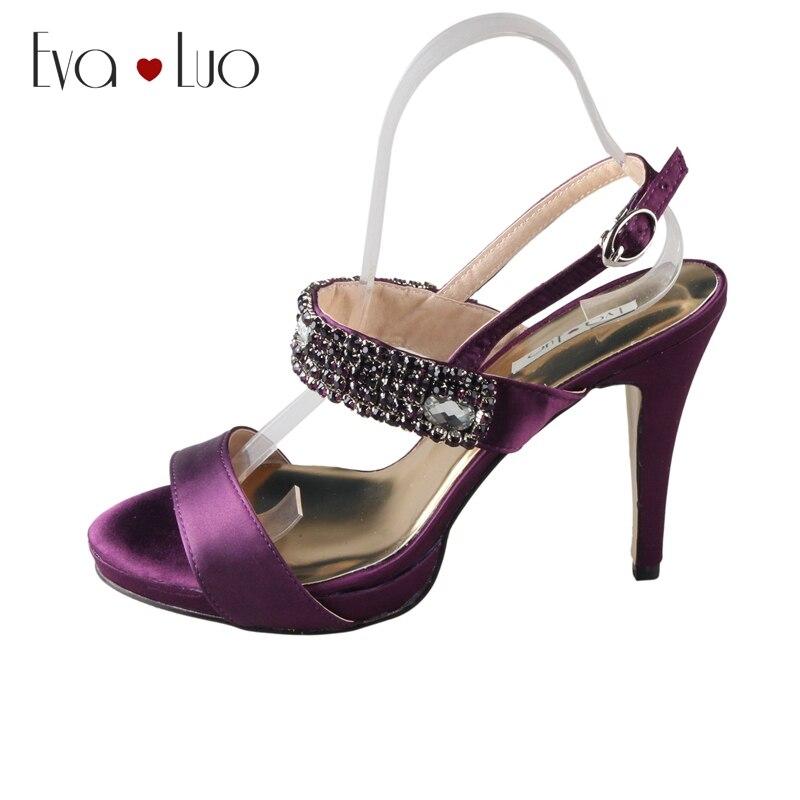 CHS535 Custom Handmae Purple Crystal Dress Sandals Bridal