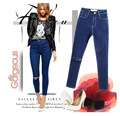 2015 calca knee ripped women high waist skinny jeans for woman female feminino feminina