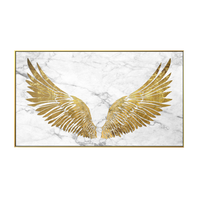 Abstract Golden Wings Canvas Painting
