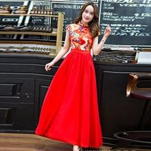 Купить с кэшбэком Wedding Cheongsam Red 2018 Chinese Fashion Dress Bride Suit Long Qipao Oriental Style Dresses Bridesmaid Gold Brocade Gown