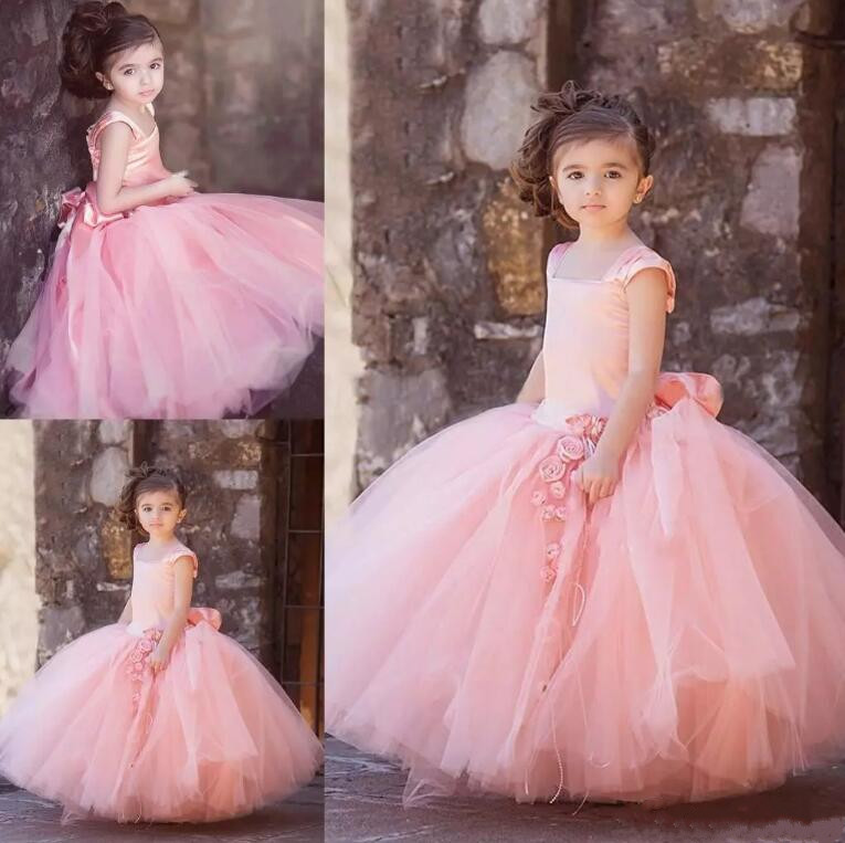 Gown For Flower Girl Wedding: New Blush Pink Tulle Ball Gown Flower Girl Dresses For