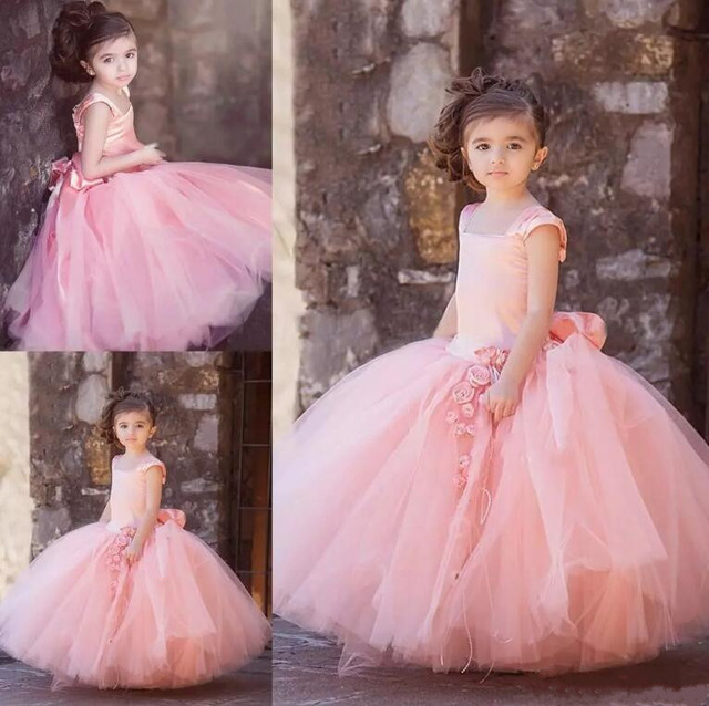 New Blush Pink Tulle Ball Gown Flower Girl Dresses For Wedding Kids
