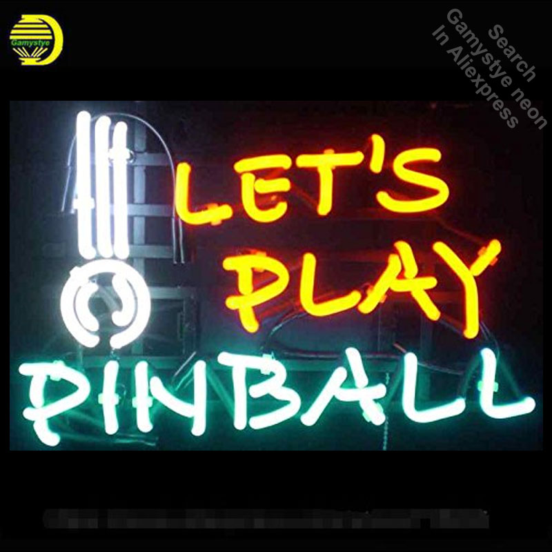 Neon Sign for Lets Play Pinball Neon Tube Sign Commercial Light handcraft Publicidad Lamps Store Displays neon light sign