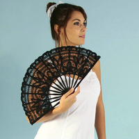 2018 Hot Sale Spain Black Leques Ladies Folding Lace Hand Fans,Wholesale Personalized Bamboo Fan Of Old Wedding Decoration 1