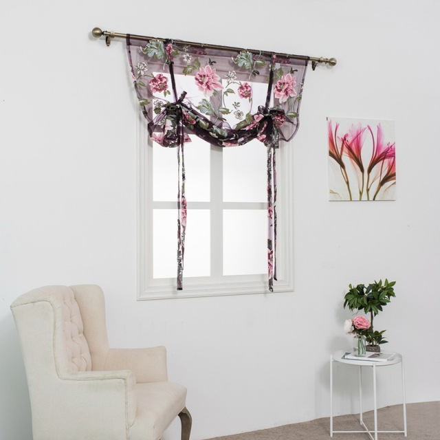 Kitchen Short Sheer Curtains Burnout Roman Blinds Printing Panel Tulle Window Treatment Door Home Decor