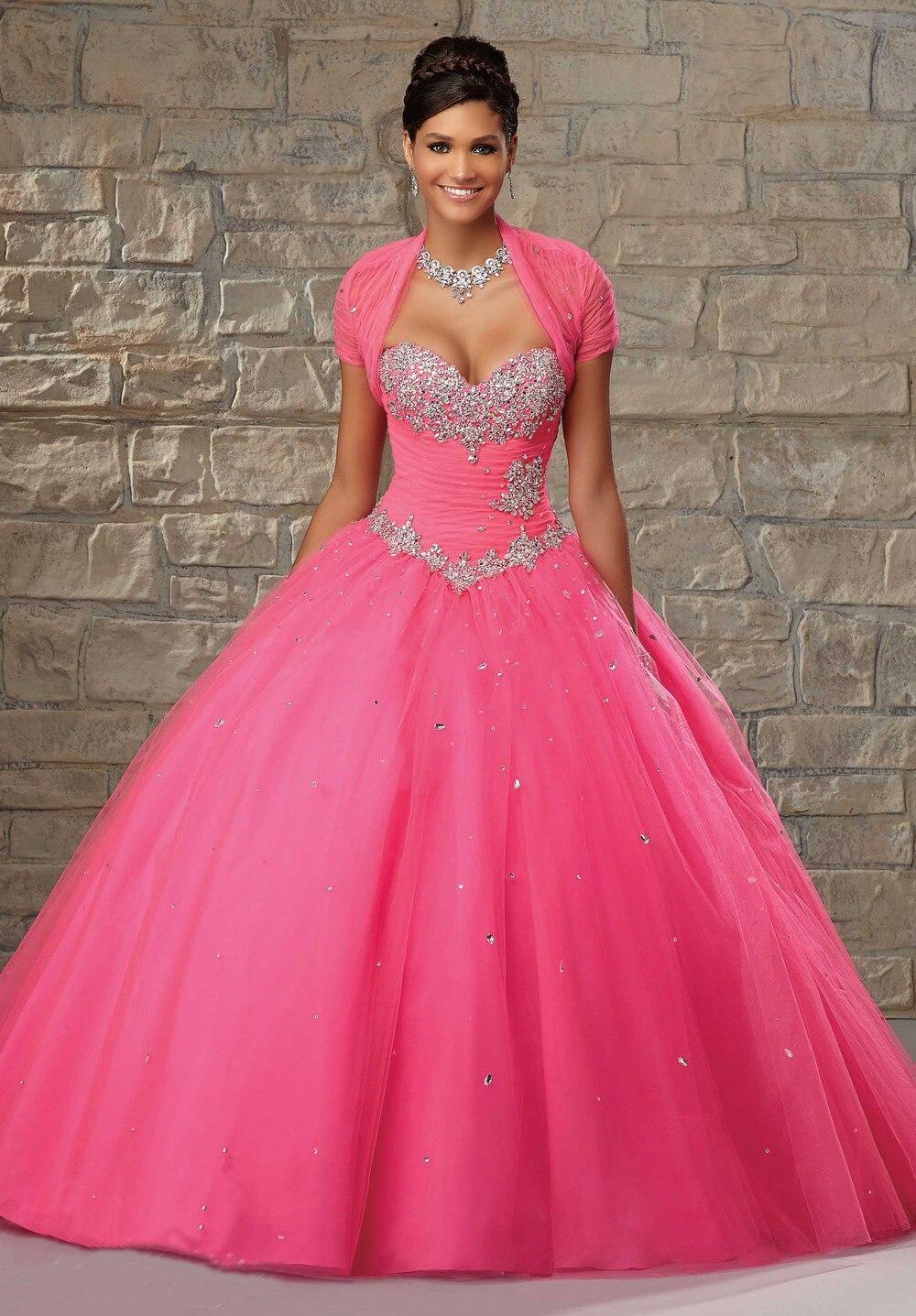 1a008b042 Hot Pink vestido para 15 años 2015 vestidos del Quinceanera bola de dos  piezas traje de quinceañera Organza vestido con la chaqueta en Vestidos de  ...