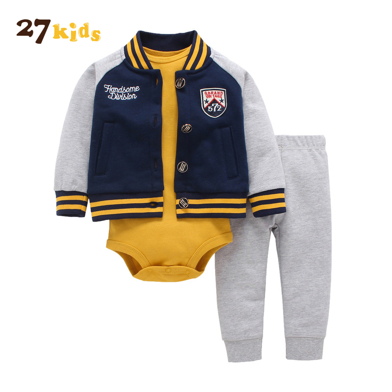 27Kids Brand Baby 3Pcs/Lot Suits Autumn Clothes Set Boys Causal Costume Romper Jacket Pants Boy Clothing Set new born baby cloth
